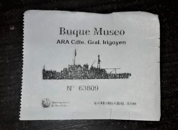 Los tickets del buque museo General Irigoyen.