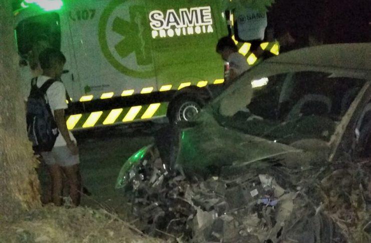 Así quedó el auto tras el choque contra el árbol.