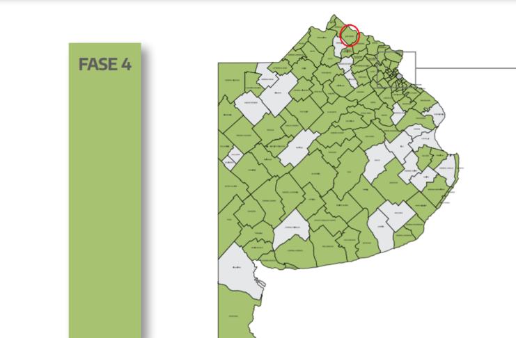 El mapa de los municipios en Fase 4, entre ellos San Pedro.