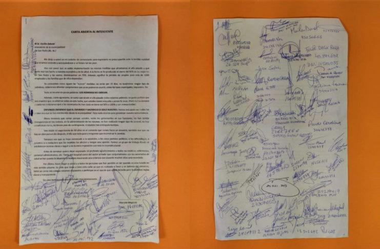 La carta abierta firmada por alrededor de 80 comerciantes locales.
