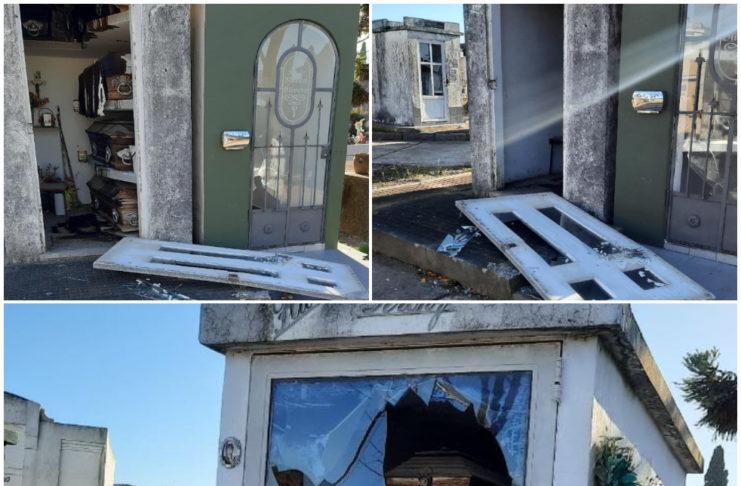 Los daños registrados este lunes en el Cementerio local.