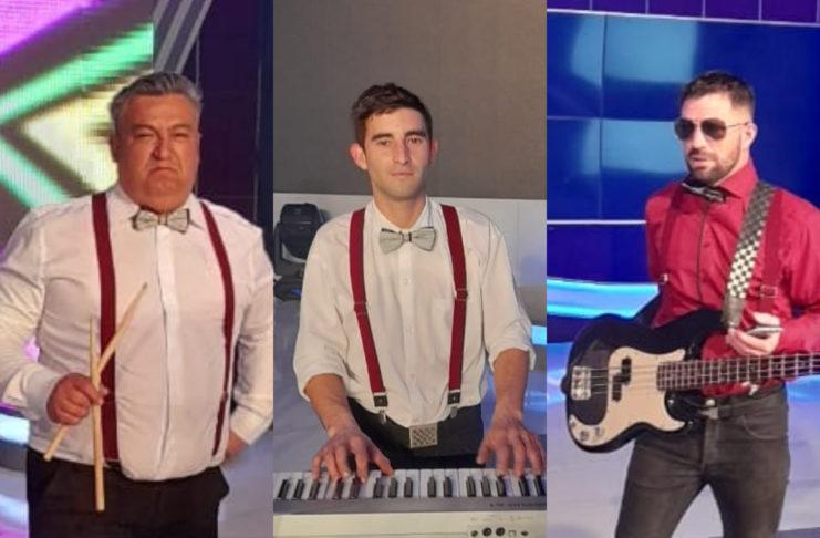 Marcos Beltrán, Pablo Mariguan y Rodrigo Actis Dato, los músicos sampedrinos que acompañaron a Daniel Mansilla.