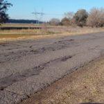 La ruta 191 en la zona donde este viernes cuatro coches reventaron neumático.