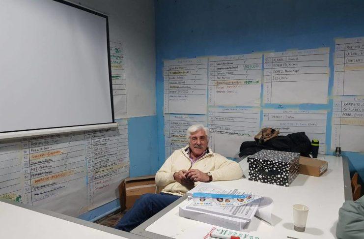 Julio Pángaro en el búnker del Frente de Todos en 2019, cuando Ester Noat fue candidata a intendenta.