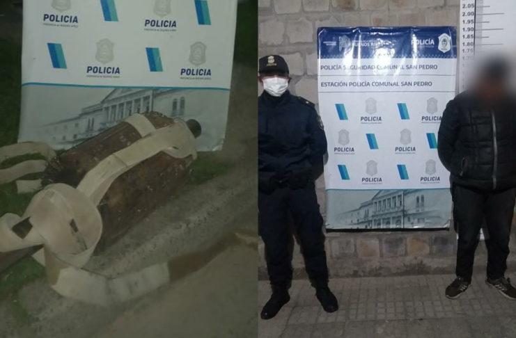 El detenido y la bobina que robó en un galpón en calle Caroni.