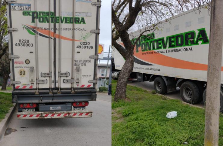 El camión estaba estacionado por Juan B. Justo, frente a la estación de servicio, en dirección hacia Vuelta de Obligado.