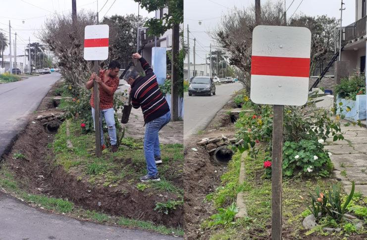 Los vecinos colocaron un cartel que mandaron a hacer ellos mismos.